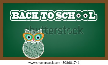 "Owl with cateye glasses - text Back To School with eyes for the o""s  - stock vector"