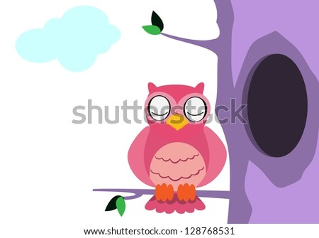owl with cool color - stock vector