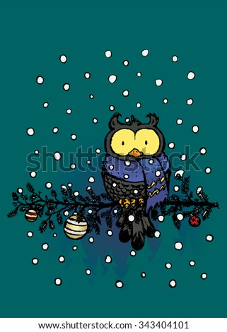 Owl with scarf.Funny looking character sitting on decorated pine tree branch.Christmas card vector - stock vector
