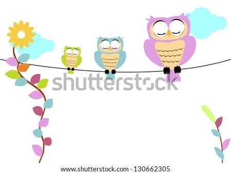 owl with soft color vector of illustration - stock vector