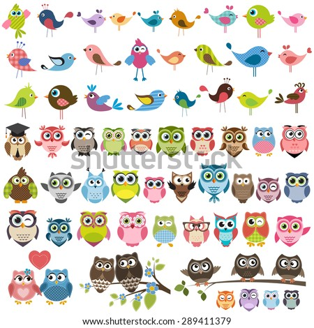 owls and birds set - stock vector