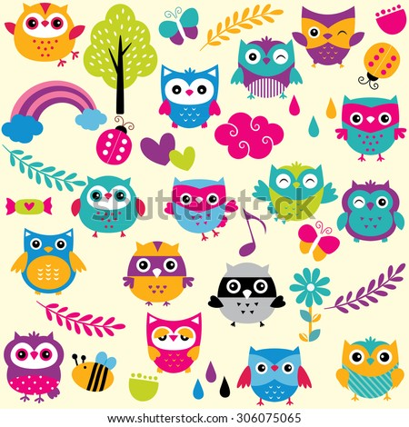 owls and elements clip art set
