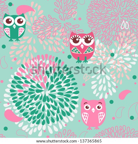 Owls and flowers seamless pattern - stock vector