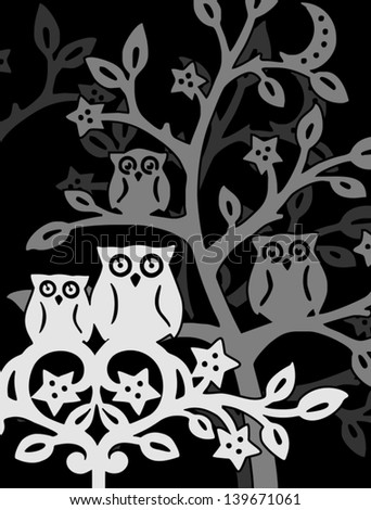 owls at night - stock vector