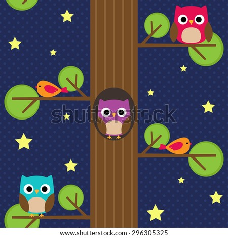 Owls at night on the tree. Seamless pattern. - stock vector