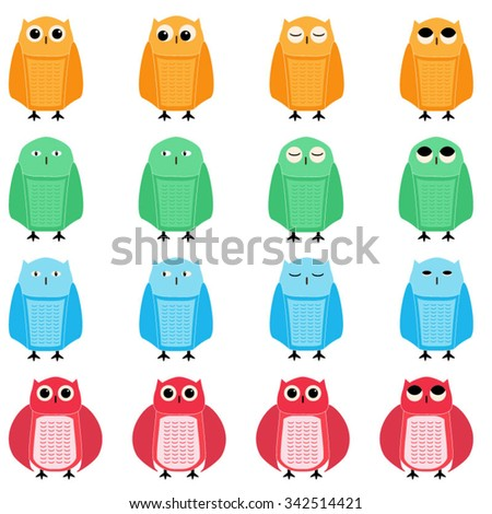 Owls, color icon set - stock vector
