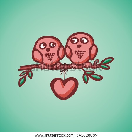 owls fall in love on the branch. Vector illustration
