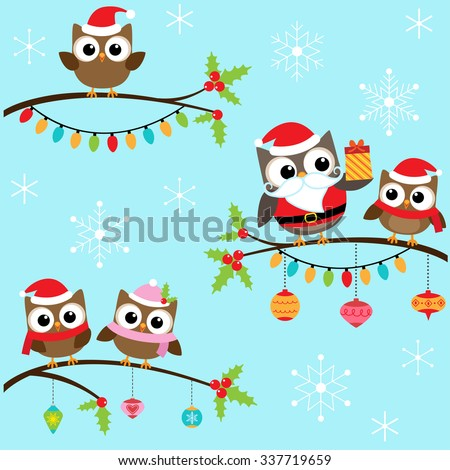 Owls in Christmas costumes sitting on branches - stock vector