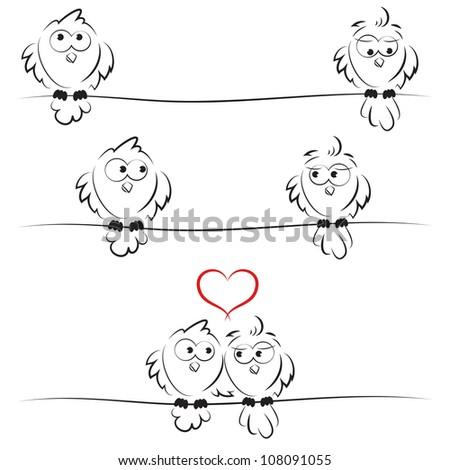 owls in love - stock vector