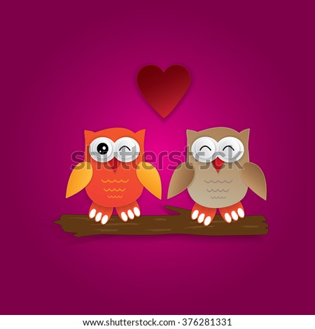 Owls in love sitting on a tree - valentine's card.