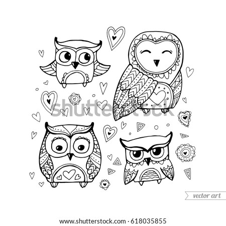 Cute Boho Birds Set Collection Vector Black And White
