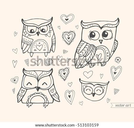 Owls Isolated Cute Boho Birds Set Stock Vector 503166484
