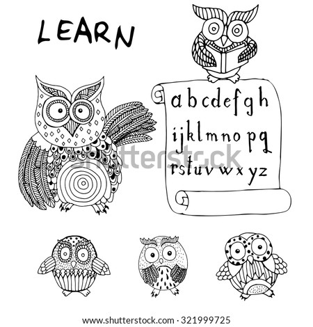 Owls learning - stock vector