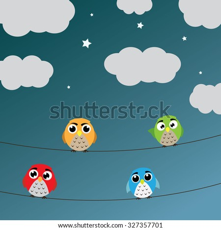 Owls nocturnal sky. Vector illustration