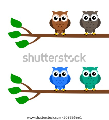 owls on a branch - stock vector