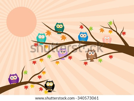 Owls on tree in autumn season and maple leaf fall with sun ray in background. Vector illustration flat design pastel color. - stock vector