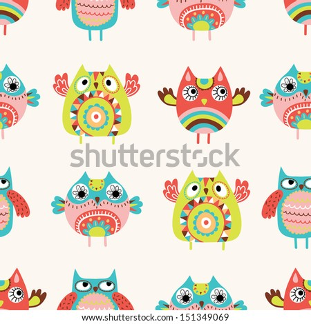Owls seamless pattern - stock vector