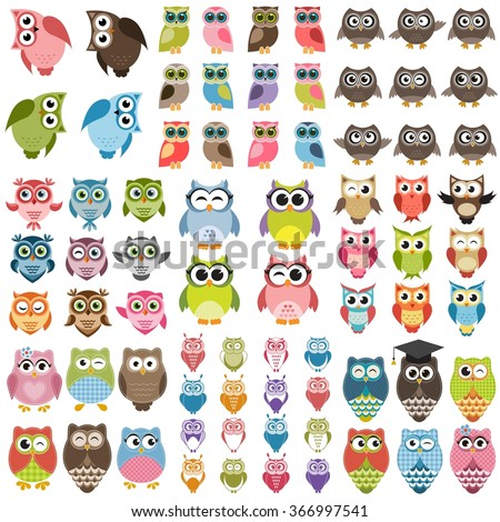 Owls set - stock vector