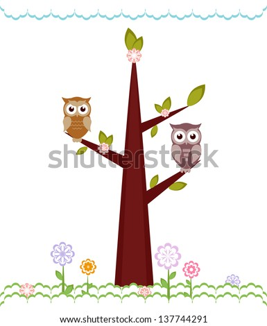 Owls  sitting on branches. Vector illustration - stock vector