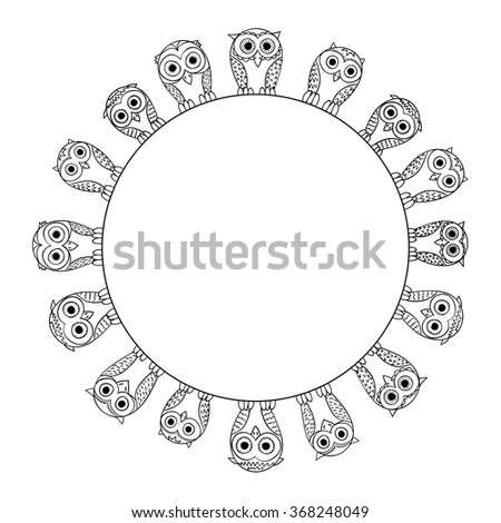 owls sketch style hand drawn frame. Vector background with cartoon cute birds.  - stock vector