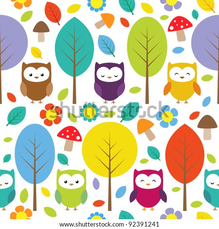 Owls, trees, leafs, mushrooms and flowers - seamless forest pattern - stock vector