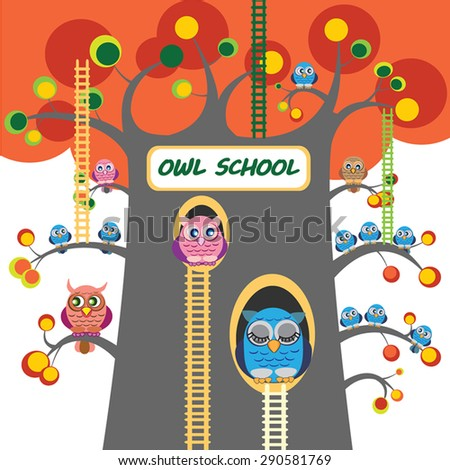 Owls vector illustration. Owl School Tree with ladders and lot of owlets on branches of great autumn tree.  Big owl  sleep in tree hole. Autumn day. Cute cartoon characters. Eps 10.