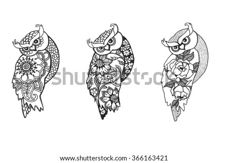 Owls vector illustration. Set of owls. Owls picture. Owls art. Isolated owl birds in flower style.  - stock vector