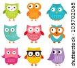 Owls vector set - stock vector
