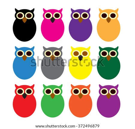 owls vector set flat - stock vector