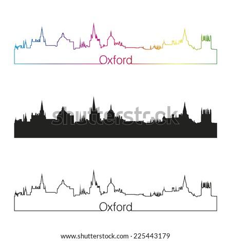 Oxford skyline linear style with rainbow in editable vector file - stock vector