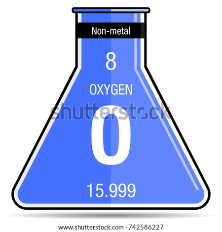 Oxygen symbol on chemical flask element stock vector 742586227 oxygen symbol on chemical flask element number 8 of the periodic table of the elements urtaz Image collections