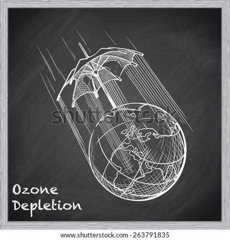 Ozone layer degradation is one of the most acute global environmental problems. EPS10 vector illustration in a sketchy style imitating scribbling on the blackboard. - stock vector