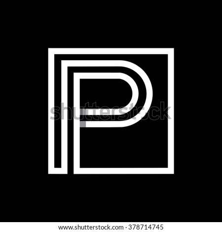 P capital letter enclosed in a square. . Overlapping with shadows monogram, logo, emblem. Trendy design.  - stock vector
