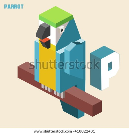 P for Parrot. Animal Alphabet collection. vector illustration