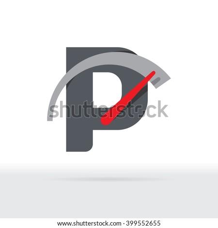 P Letter Car Speedometer, B Letter Meter Logo - stock vector