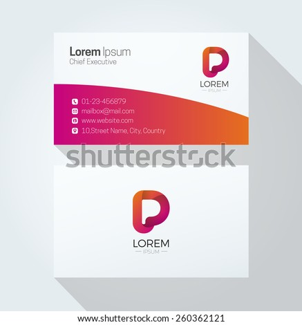 P Letter Colorful Business card with 3d Logo - stock vector