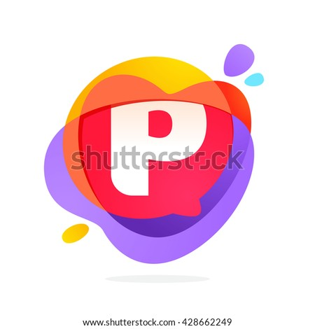 P letter logo with speech bubble and hearts. Vector typeface for communication app icon, corporate identity, card, labels or posters. - stock vector