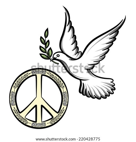Pacific anti-war symbol for nuclear disarmament  now an international peace symbol  and the dove of peace with an olive branch vector icons to promote harmony and peace worldwide - stock vector