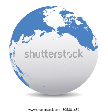 Pacific Rim North America, Canada, Siberia Russia and Hawaii Global World - stock vector