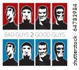Pack of Bad and Good Guys - stock vector