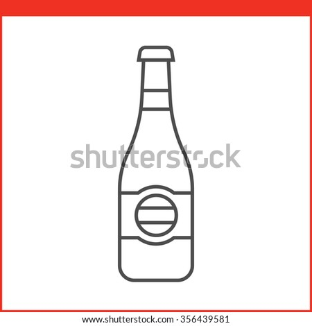 Pack of beer or other alcoholic beverage. Simple outlined vector of alcohol bottle. Linear style - stock vector