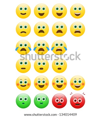 Pack Of Emoticons With Different Expressions - stock vector