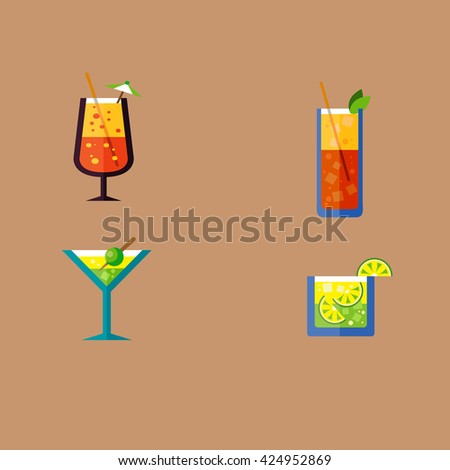 Pack of exotic drinks in flat design Drinks Cocktail Glasses Round icon Set. Martini Glass, Brandy Glass, Hurricane Cocktail Glass with Orange Slice and Highball Drink with ice Cubes.  - stock vector