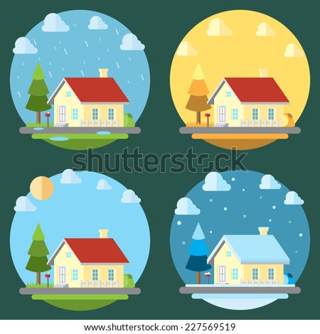 Pack of flat design four seasons illustration vector - stock vector