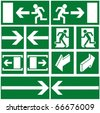 Pack of green evacuation symbols - stock photo