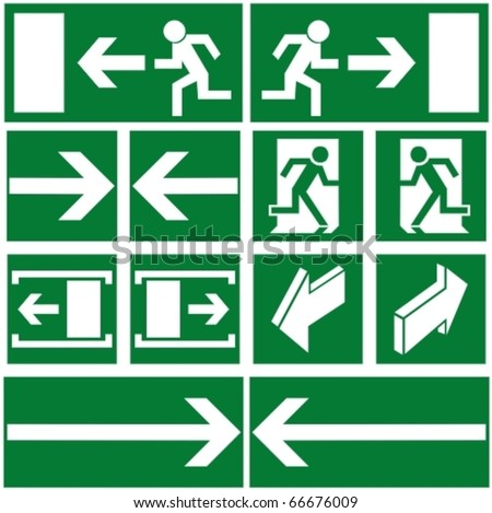Pack of green evacuation symbols - stock vector