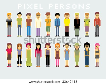 Pack of many pixel people. - stock vector
