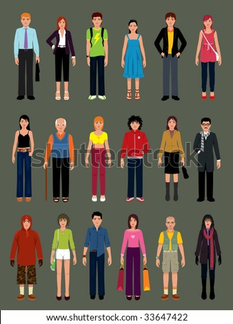 Pack of people in various situations. - stock vector