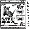 Pack of vector elements for saving our endangered rhinos from poaching. Includes white and black rhino footprints and acacia thorns - stock vector