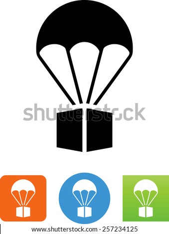 Package being delivered via parachute. Vector icons for video, mobile apps, Web sites and print projects. - stock vector